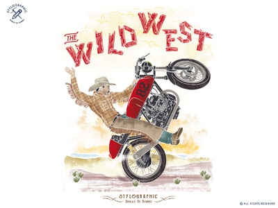 The Wild West biker vintage poster rodeo rider mexico western motorcycle caferacer wild west