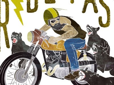 Ride Fast vintage typography fast caferacer motorcycle man hipster dogs beard ride
