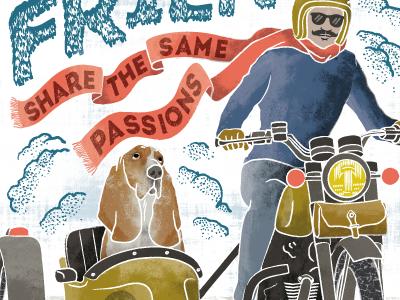 Best Friends illustration poster ride passions biker rider cafe racer motorcycle dog basset hound