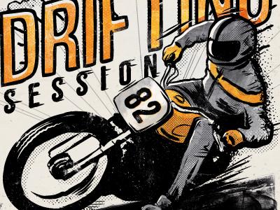 Drifting session art print design poster illustration biker race motorcycle drifting