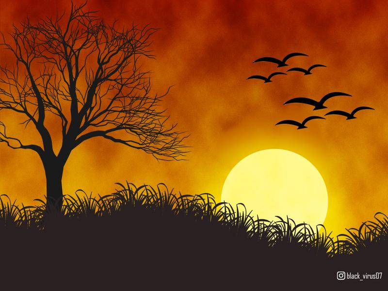 Sunset nature sunset raster adobe photoshop
