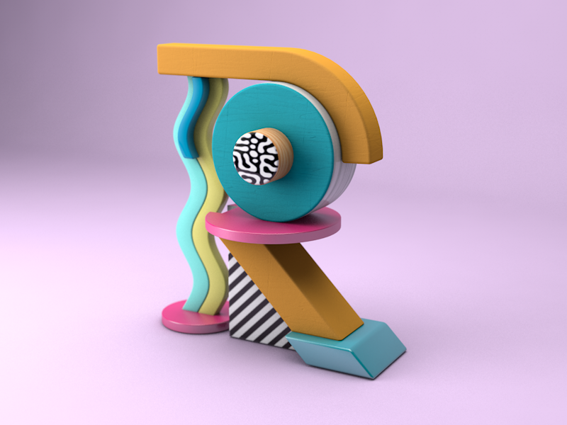 R is for Render 3d geometric pattern typography memphis c4d