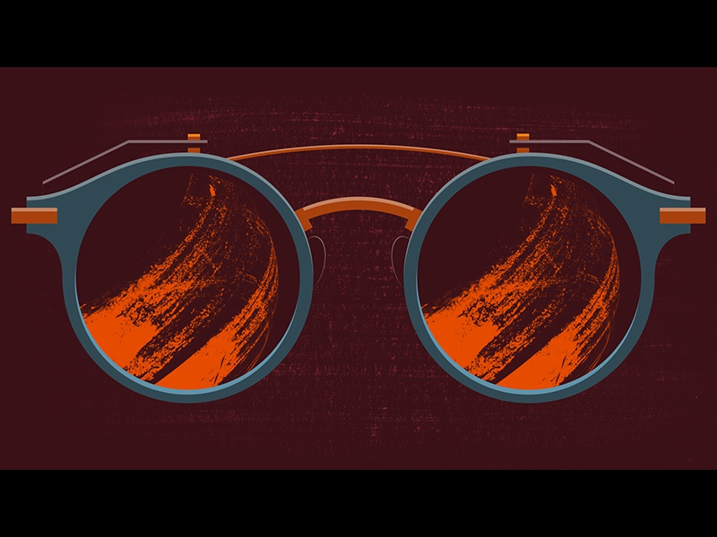 Hot & Hungry sunglasses lens fire illustration 2d