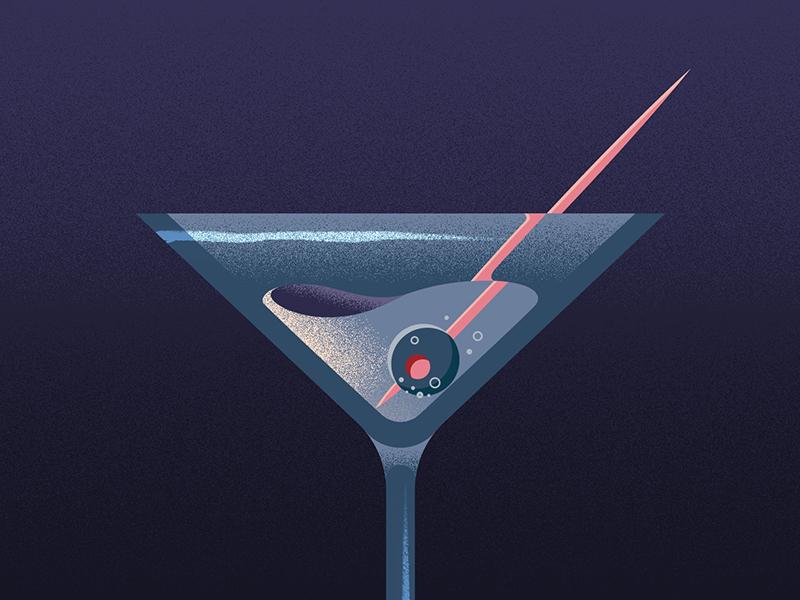 Oh, you fancy huh? illustration olive bond drunk martini grain vector 2d