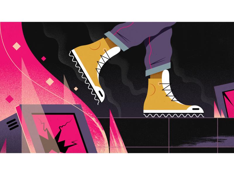 Crash & Burn flames fire apocalypse technology design illustration 2d