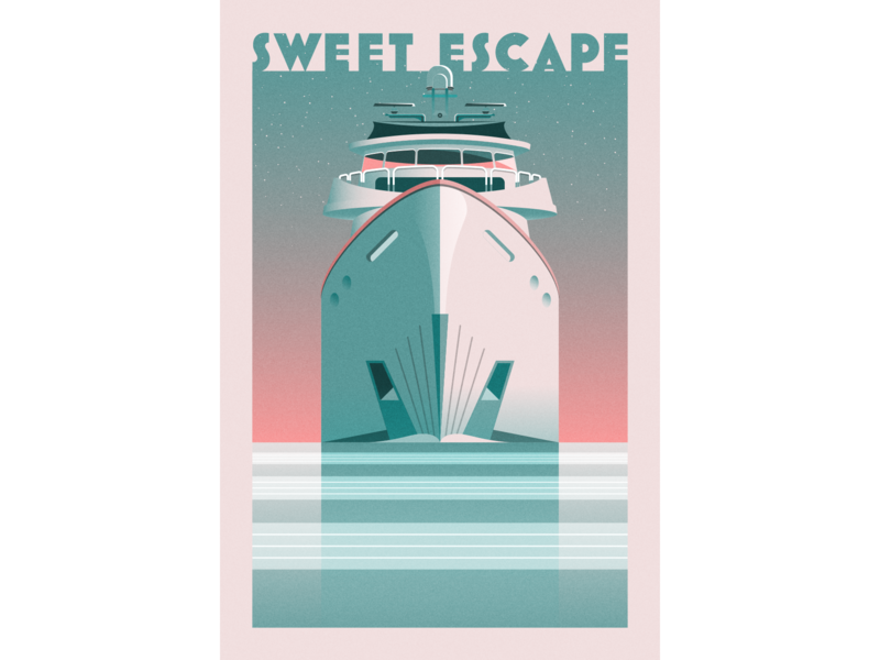 Yacht Illustration vector illustration design 2d