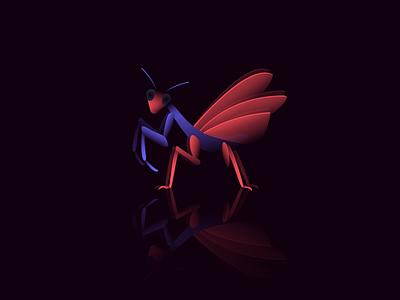 Mantis colors dark illustration reflection lights gradients insects bugs praying mantis mantis