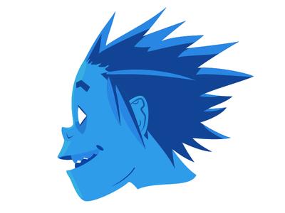 2-D, Gorrilaz design character band music blue screen flat illustrated illustration gorillaz