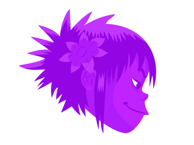 Noodle, Gorillaz noodle screen music illustration illustrated gorillaz flat design character purple band