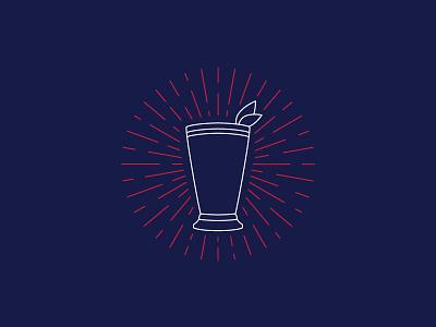 Mint Julep cup julep burst louisville kentucky derby line line art illustration mint julep mint
