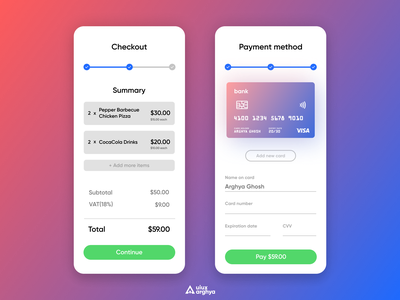 Credit Card Checkout Design - Daily Ui Challenge #2 creative ui  ux ui clean uidaily checkout flow checkout page checkout app design uiux minimalism figma logo uiuxarghya design