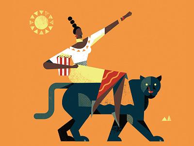 WAKANDA FOREVER!! illustration popcorn texture woman character black panther