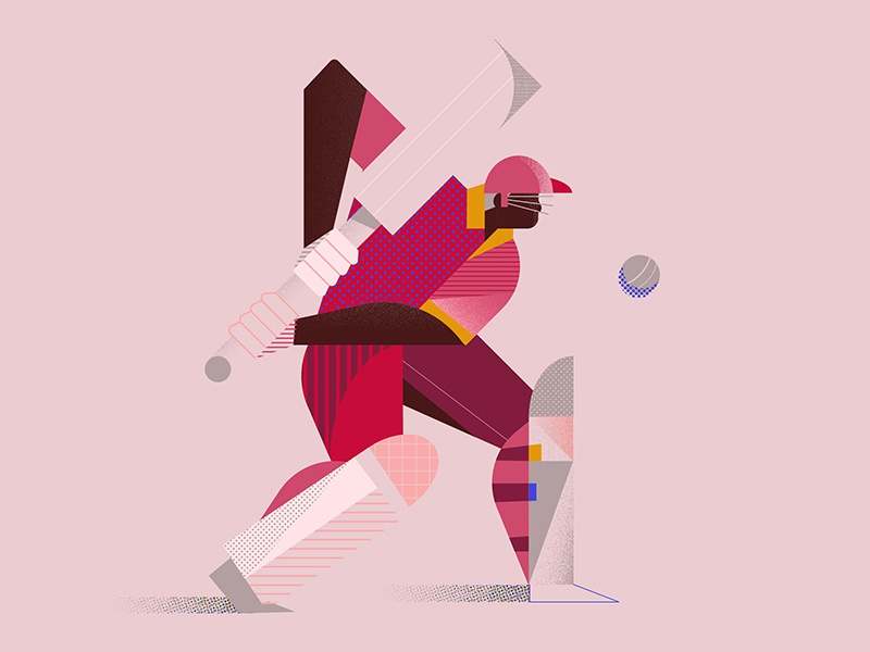 West Indies Cricketer west indies character texture pattern ball sports cricket illustration vector 2d