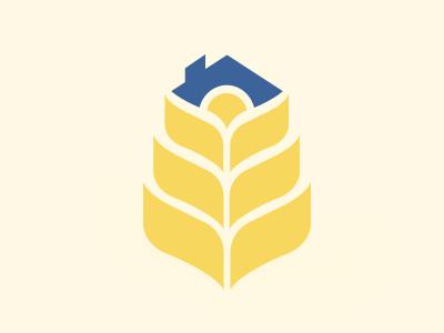 Wheat logo wheat logo icon housing golden rooftop sun house leaves
