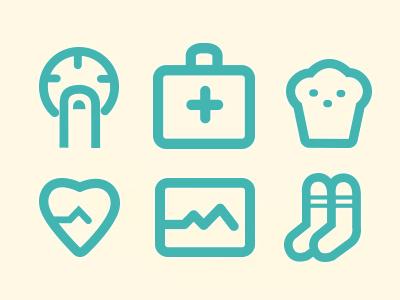 Diabetienda Icon Set icon set vector diabetics medicine health chart socks cute