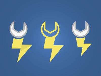 LMDA Icon Logo wrench key thunder power icon vector hybrid simple