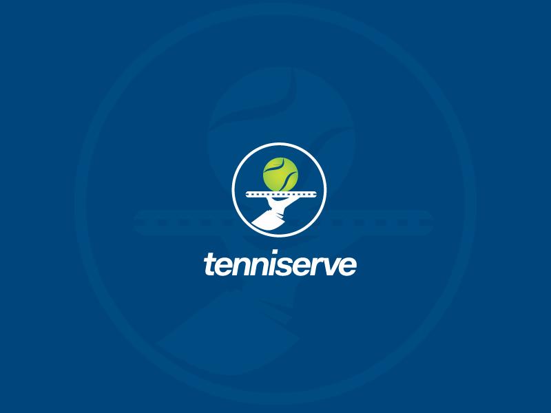 Tenniserve logo tennis logo serving tenniserve danielmarina.eu design logodesign blue green sport ball tennis ball racket plate tennis racket accessories clothing sell