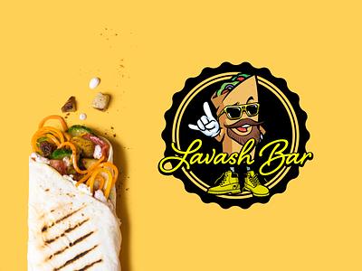 Lavash Bar flat branding icon vector shawarma fastfood illustrator logo typography design