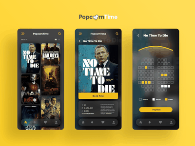 PopcornTime v2 - Movie Ticket Booking App dark ui yellow booking ticket movie app mockup ui adobexd clean