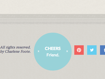 Cheers, friend. footer circle social icons texture lines border