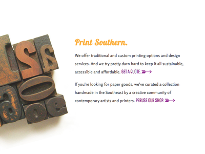 Print Southern. lobster type cta letterpress arrow text web