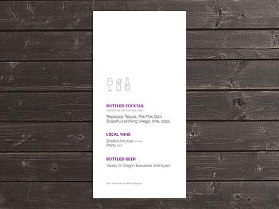 Drink Menu menu drinks icon beer cocktail wine line table vector