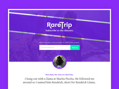 Daily UI :: 003 :: Landing Page (Above the fold) sign up explore input email subscribe adventure travel purple daily ui landing page