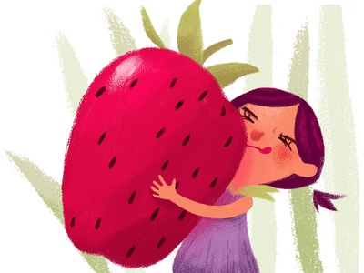 Thumbelina carrying a strawberry