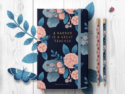 Garden Journal notebook leaf bug ladybug butterfly book journal cover botanical rose flower illustration