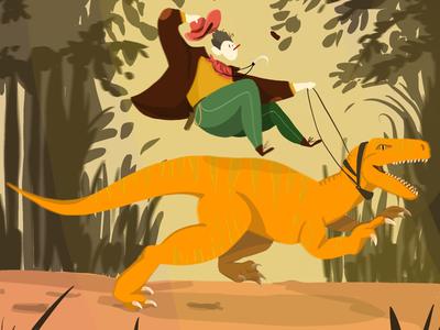 Jurassic Rider! procreate doodle rider character design character jurassic
