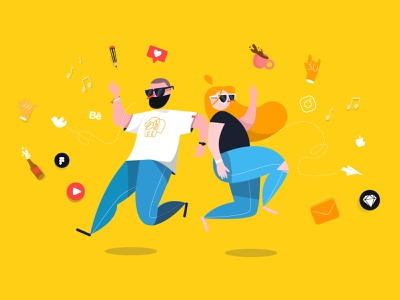 Design Team NonStop! play music social media lifestyle illustration lifestyle tech characterdesign design character illustration illustrator vector adobe illustrator