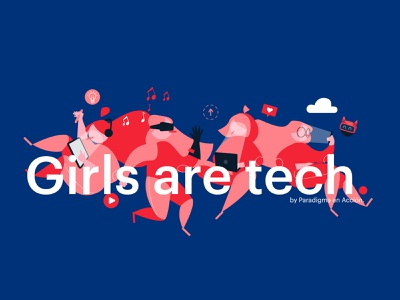 Girls Are Tech team workshop girls creative characterdesign tech technology branding design character vector illustrator illustration adobe illustrator