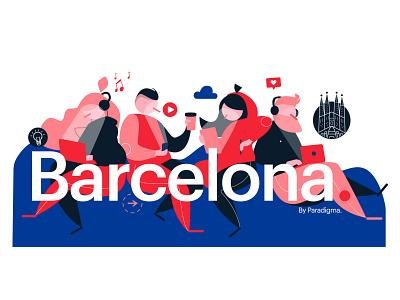 Barcelona. barcelona city office bcn characterdesign tech technology branding design character vector illustrator illustration adobe illustrator