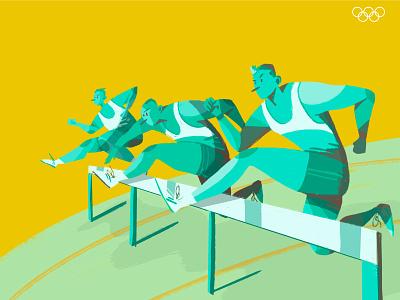Tokyo 2020 team medal games sports tokyo2020 run running race hurdles olympic games illustration graphic design jump hurdles olympics