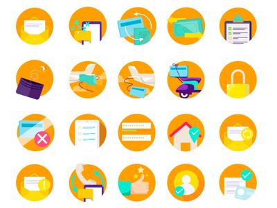Bank App bank app banking app iconography icon design icon set icons branding design vector illustrator adobe illustrator
