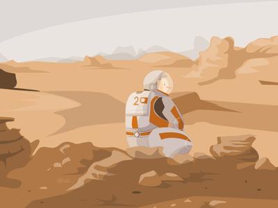 The Martian astronaut mars space vector character illustration illustrator adobe illustrator