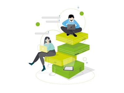 Work together - Deloitte ux tech technology branding design vector character illustrator illustration adobe illustrator