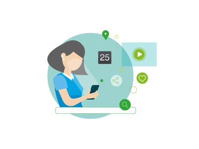 Searching&Sharing - Deloitte like search share mobile tech technology branding design vector character illustrator illustration adobe illustrator