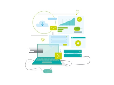 Digital - Deloitte laptop ux mobile tech technology branding design character vector illustration illustrator adobe illustrator