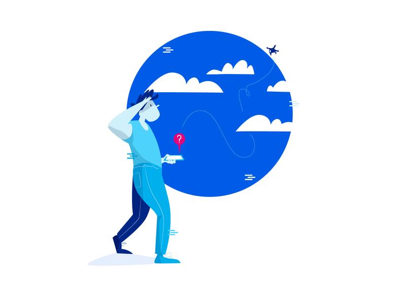 Lost blue sky app drone mobile ui tech technology branding design character vector illustration illustrator adobe illustrator
