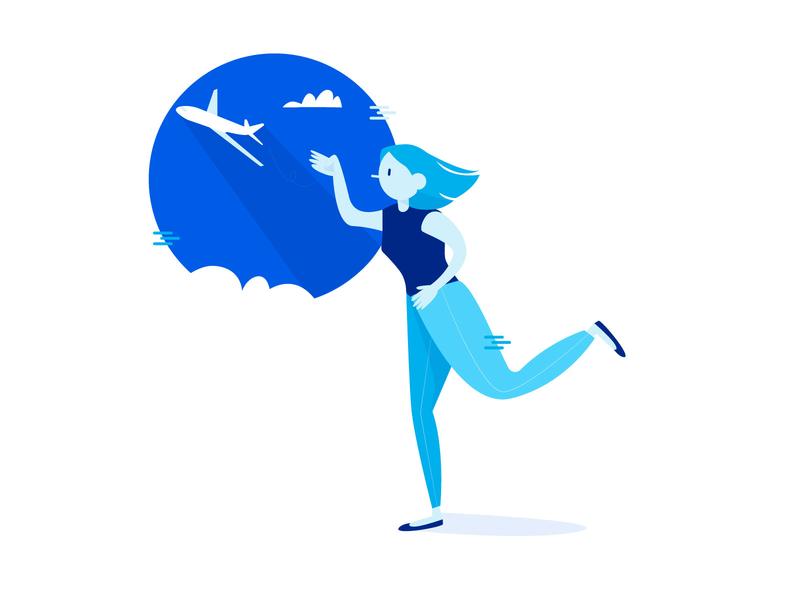 Plane flyer sky plane tech mobile technology design branding vector character illustrator illustration adobe illustrator