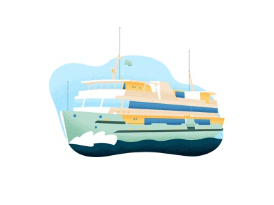 Manly Ferry ship australia sydney water fun illustration texture stippling boat ferry