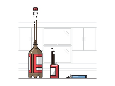 Soda + Mentos line work illustration experiment cola kitchen candy mentos cap pop can bottle soda