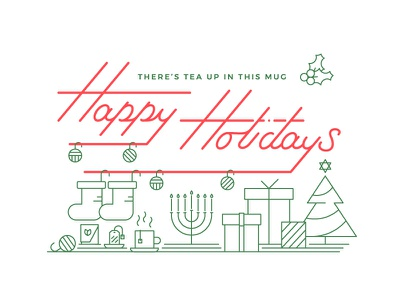 Happy Holidays card snapshot interactive stockings presents mug line work hand lettering custom type typography menorah tea star