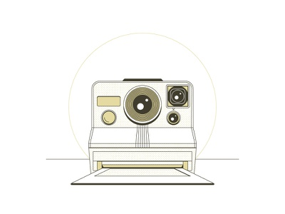 Polaroid SX-70 technical polaroid photo line work illustration halftone circle camera