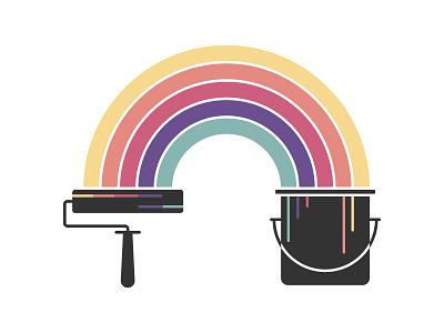 Cop Variation 3 illustration logo rainbow roller bucket paint