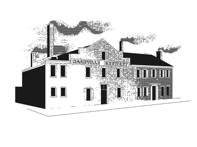 Nashville Brewery circa 1859 creative design line work illustration vintage old black and white 1800s crosshatch brewery nashville