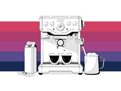 Morning Espresso spill illustration morning line art halftone drip carton milk coffee espresso machine espresso