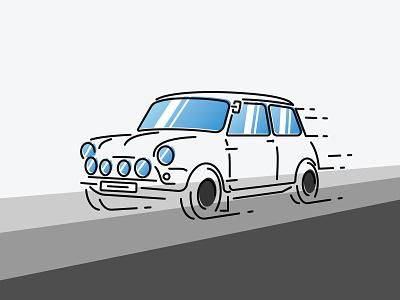 Mini Cooper Sport line art line work illustration mini cooper fun icon color bars fast speed car sport cooper mini