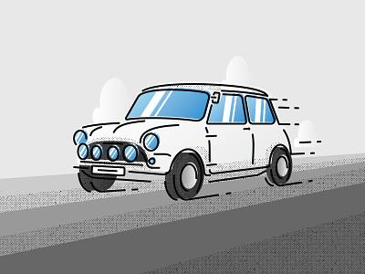 Mini Cooper Sport (Detail) creative illustration fast color bars texture car cloud halftone fun icon line work line art speed mini cooper cooper mini